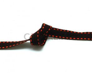 Lazo. Pespunte. 10mm. Marron oscuro-naranja. Calidad superior