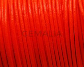 Cuero Redondo 2mm. Naranja fluorescente. Calidad Superior