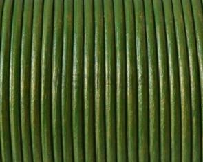 Cuero Redondo 2mm. Verde metalizado.