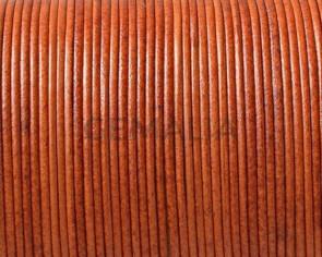 Cordon de Piel de canguro Redondo 1mm. Naranja butano. Calidad superior.