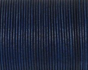 Cordon de Piel de canguro Redondo 1mm. Azul electrico. Calidad superior.