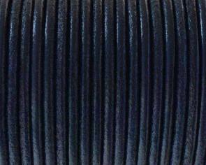 Cordon de cuero Redondo 2,5mm. Azul electrico. Calidad superior.