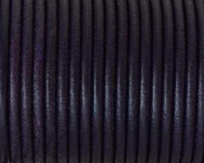 Cordon de cuero redondo 3mm. Morado. Calidad superior.