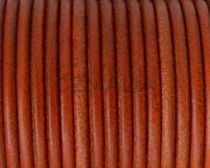 Cordon de cuero redondo 3mm. Naranja butano. Calidad superior.