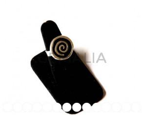 Zamak. Anillo Redondo Espiral 22x21mm. Plateado-negro.Nº18
