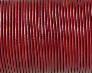 Cordón de piel de canguro redondo 1,6mm. Rojo oscuro. Calidad superior.