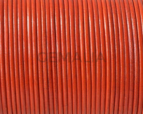 Cordón de piel de canguro redondo 1,6mm. Naranja oscuro. Calidad superior.