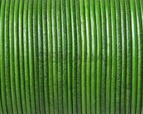 Cordón de piel de canguro redondo 1,6mm. Verde hoja. Calidad superior.