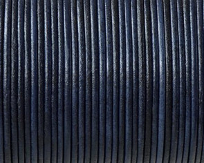 Cordón de piel de canguro redondo 1,6mm. Azul marino. Calidad superior.