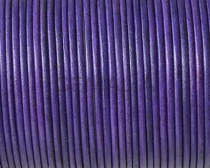 Cordón de piel de canguro redondo 1,6mm. Violeta. Calidad superior.