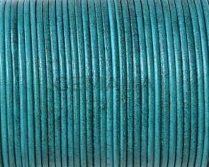 Cordón de piel de canguro redondo 1,6mm. Azul turquesa. Calidad superior.