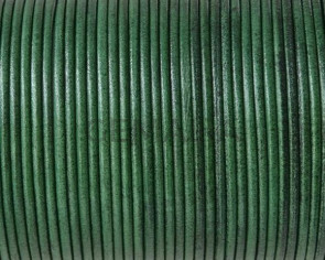 Cordón de piel de canguro redondo 1,6mm. Verde botella. Calidad superior.