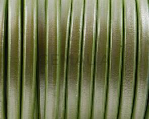 Cuero REGALIZ. Oval 10x6mm . verde manzana metalizado. Calidad superior