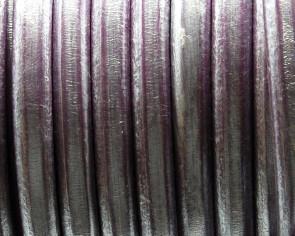 Cuero REGALIZ. Oval 10x6mm . Lila rosa metalizado. Calidad superior