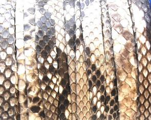 Piel de serpiente Piton Plano 9x1,5mm. Tira doblada. Blanco y negro.