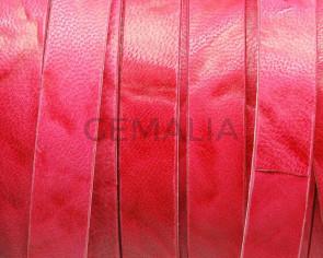Cuero Plano 13x2mm. Vintage. Rojo. Calidad Superior