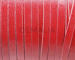 Cuero Plano 6x2mm. Micrograbado.Rojo. Calidad Superior