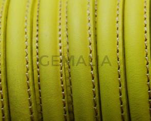 Cuero. Media caña. 10mm. Amarillo fluorescente. Calidad Superior