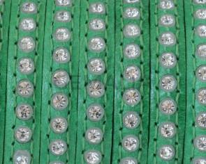Cuero Plano con strass. 6,5x3mm.Verde-strass cristal. Calidad Superior