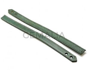 Pulsera de Cuero. 15x470mm. Verde claro. Troquel 6mm. Calidad Superior