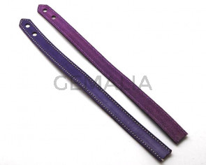 Pulsera de Cuero. 15x470mm. Violeta. Troquel 6mm. Calidad Superior