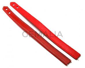 Pulsera de Cuero. 15x470mm. Rojo. Troquel 6mm. Calidad Superior