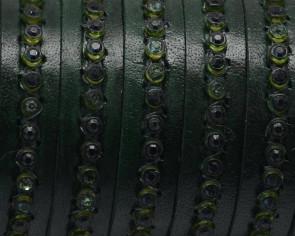 Cuero Plano 10x2mm. Verde botella-strass verde. Calidad Superior
