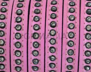 Cuero Plano con strass. 8x3mm. Rosa-strass cristal. Calidad Superior