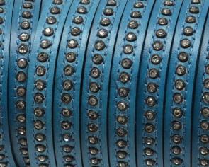 Cuero Plano con strass. 8x3mm. Azul oscuro-strass cristal. Calidad Superior
