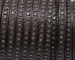 Cuero Plano con strass. 6,5x3mm. Marron oscuro-strass cristal. Calidad Superior