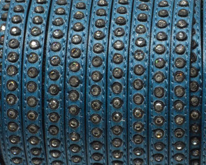 Cuero Plano con strass. 6,5x3mm. Azul oscuro-strass cristal. Calidad Superior