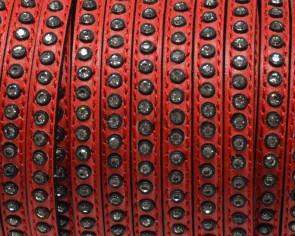 Cuero Plano con strass. 6,5x3mm. Rojo-strass cristal. Calidad Superior