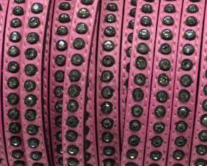 Cuero Plano con strass. 6,5x3mm. Rosa-strass cristal. Calidad Superior