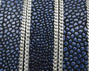 Cuero Plano con cadena. 15x2mm. Pez raya.Azul marino-plateado. Calidad Superior