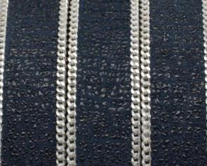 Cuero Plano con cadena. 15x2mm. Azul marino-plateado. Calidad Superior