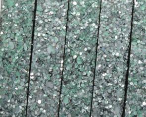 Tira de Fantasia sintetica. Plano 10x2mm. Plata-verde. Calidad Superior