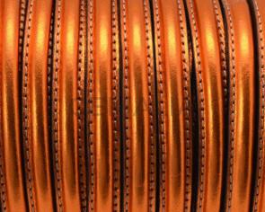 Cuero. Media caña. 10x5mm. Naranja metalizado.Int.1,8mm. Calidad Superior