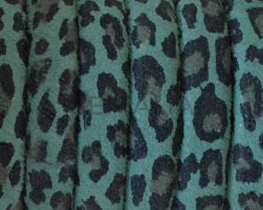 Piel de serraje REGALIZ. Oval 10x6mm . Leopardo verde. Calidad superior