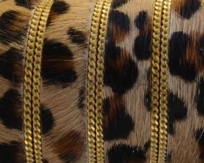 Tira leopardino. Con cadena. Plano 15mm. Dorado. Calidad superior