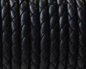Cuero Trenzado Redondo 4mm. Negro. Calidad superior