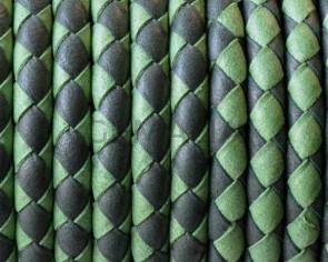 Cuero Trenzado Redondo 5mm. Denver. Verde hierba-manzana. Int.1mm. Calidad Superior