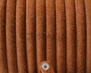 Piel de serraje. Redondo 5mm. Camel. Hueco. Int.1,5mm aprox. Calidad Superior