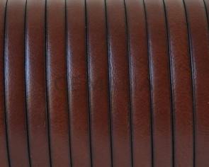 Cordon de cuero Plano 5x1,5mm. Coñac-Cantos negros. Calidad superior. Precio Especial