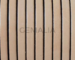 Cordon de Cuero Plano 5x1,5mm. Natural-cantos negros. Calidad superior. Precio Especial