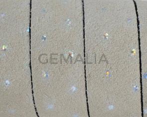 Piel de serraje/Cristal. Plano 20x2,5mm. Beige-plata. Calidad Superior