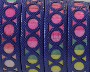 Tira fantasia sintetica.Plano12x1,5mm.Violeta-multicolor. Calidad Superior