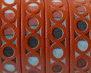 Tira fantasia sintetica.Plano12x1,5mm.Naranja-multicolor. Calidad Superior
