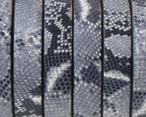 Cordon de cuero Plano 10x1,5mm. Estampado 18. Blanco-negro. Calidad superior. Precio Especial