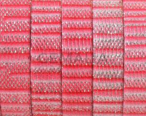 Cuero Plano 10x1,5mm. Rosa-brillantina. Calidad superior