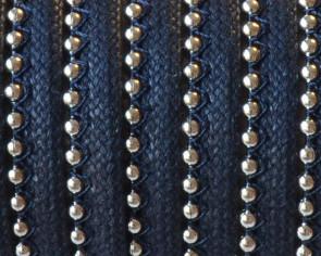 Cordon. Encerado. Con cadena. 7x2mm.Azul marino-plateado. Calidad Superior